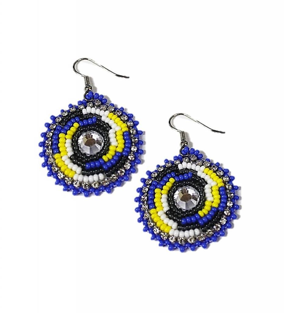 *FS Round Designed Multi Colored Beaded Earrings