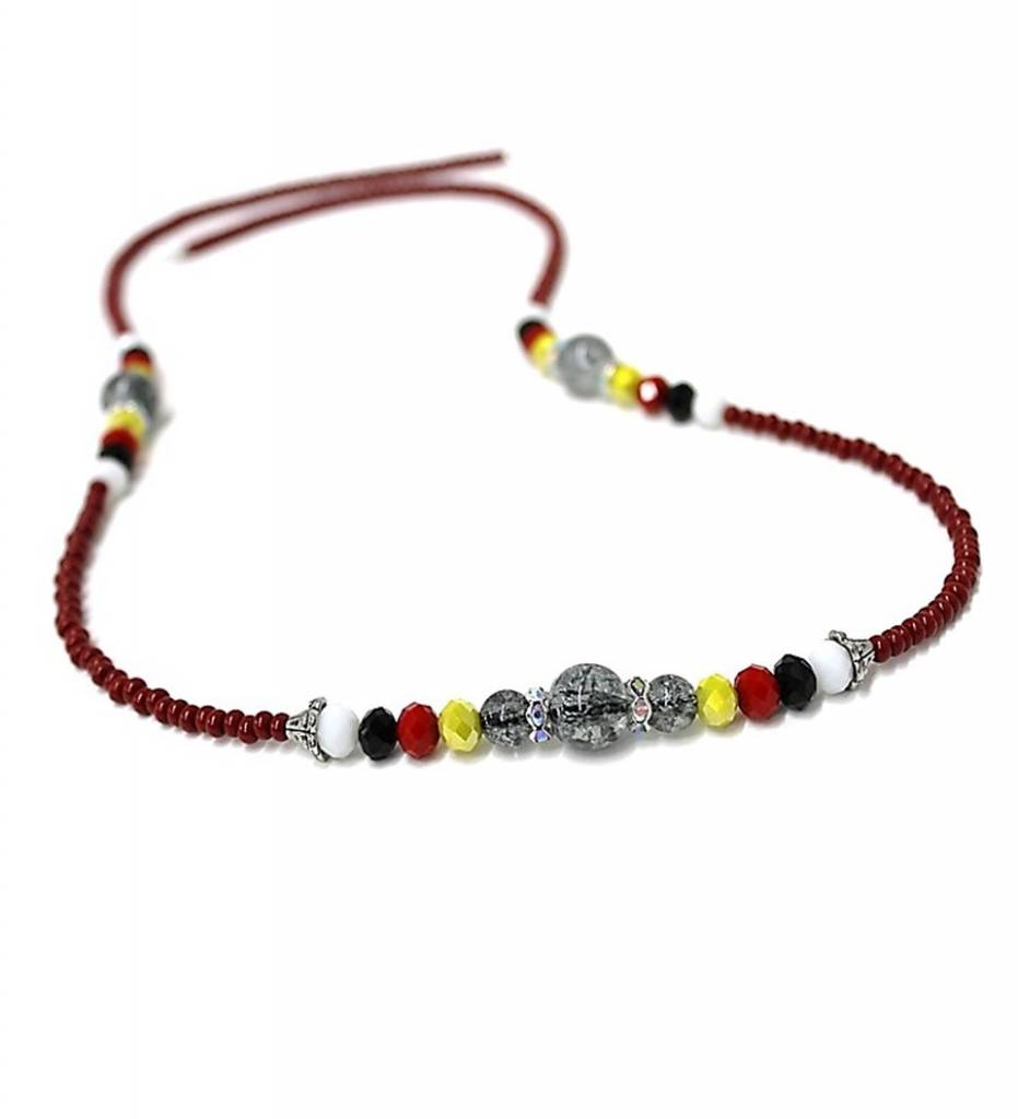 HB Women's Maroon & Multi Colored Beads Necklace
