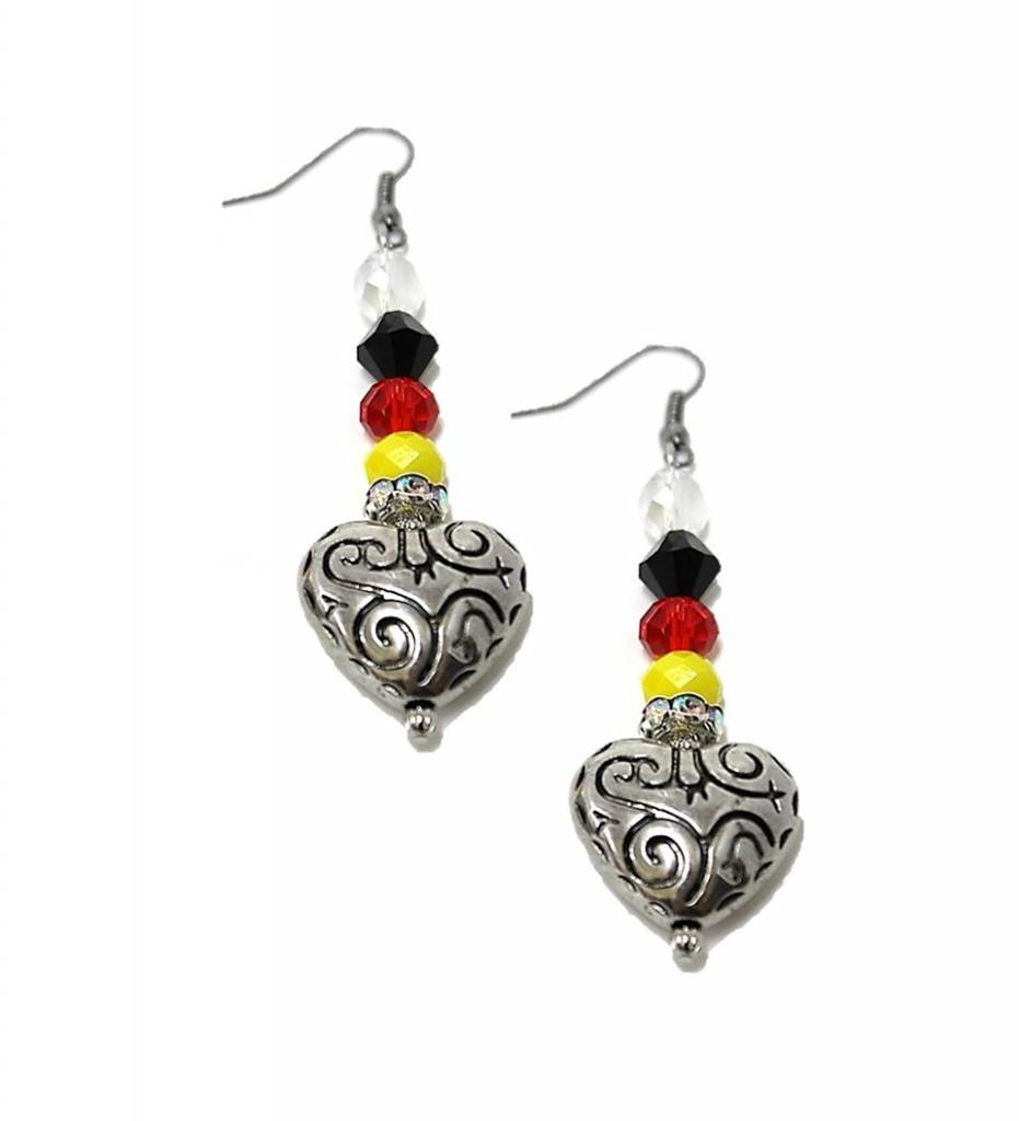 HB Silver Heart & Multi Colored Beads Earrings LARGE