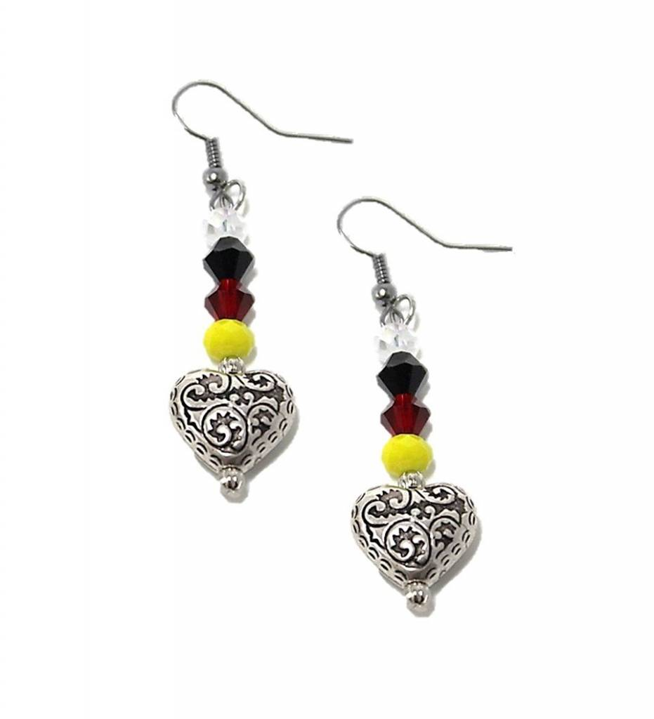 HB Silver Heart & Multi Colored Beads Earrings SMALL
