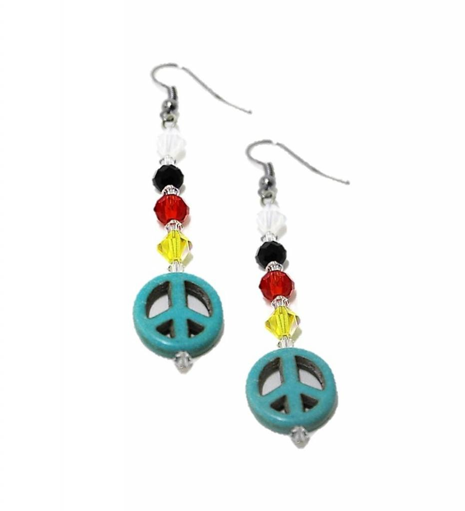 HB Turquoise Peace Sign Pendant with Multi Colored Beads Earrings