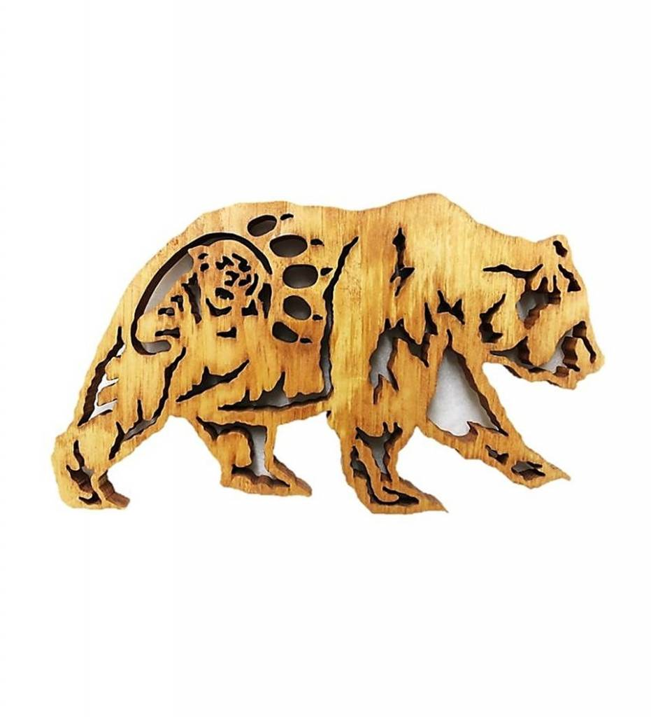 *BB Grizzly Bear and Mountain Lion Wooden Plaque