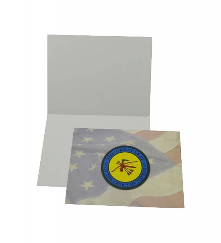 "Notecards with National Flag and ""THE GREAT SEAL OF THE CHOCTAW NATION"""