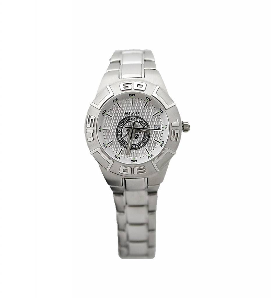 "Silver Fossil Classic Sport LADIES' Watch with ""The Great Seal of the Choctaw Nation"""
