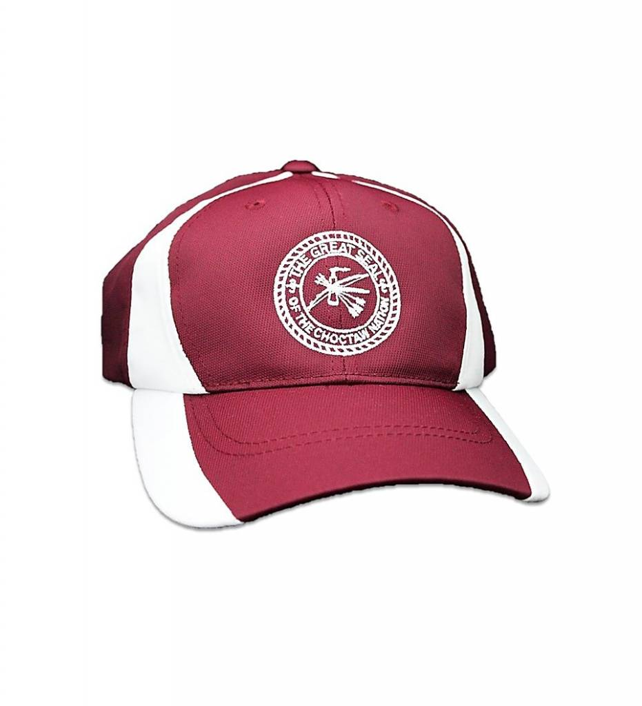 Maroon with White Stripe & White Embroidered CNO Seal CAP