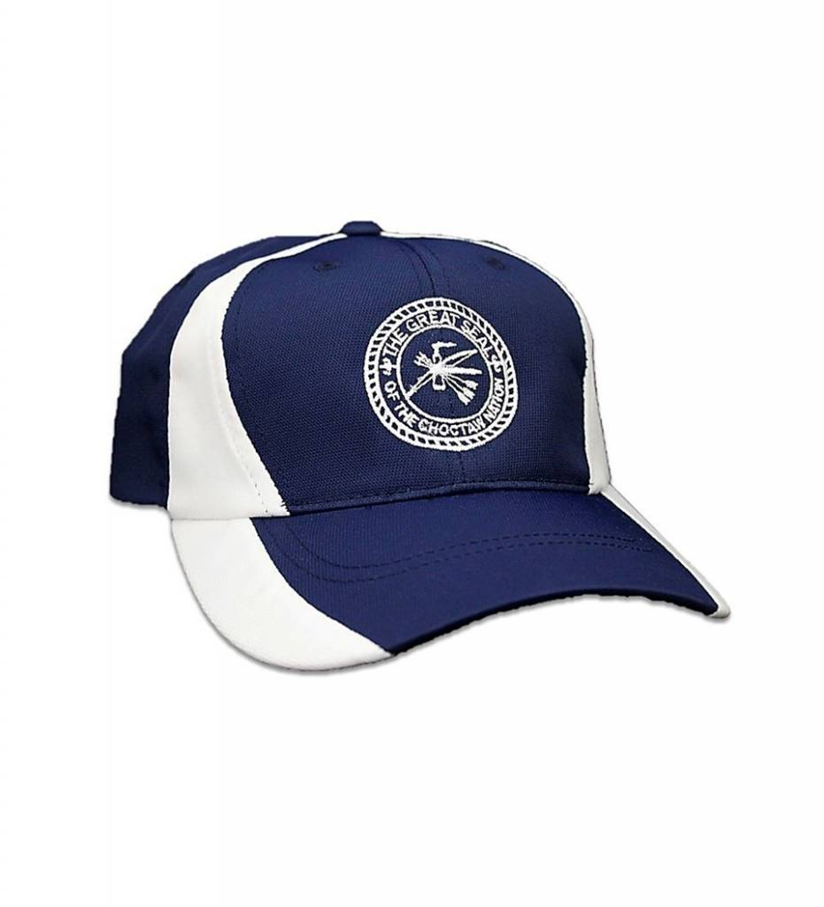 Navy with White Stripe & White Embroidered CNO Seal CAP