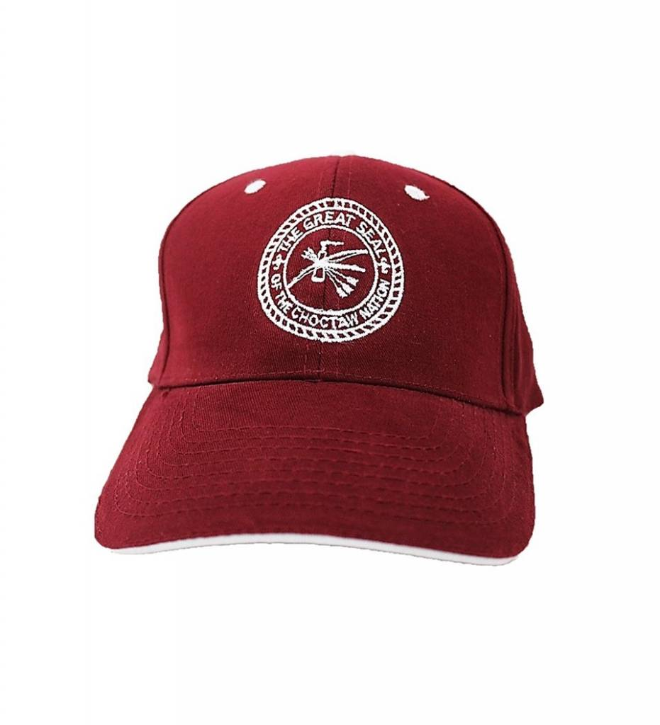 Maroon with White Embroidered Choctaw Nation Seal CAP
