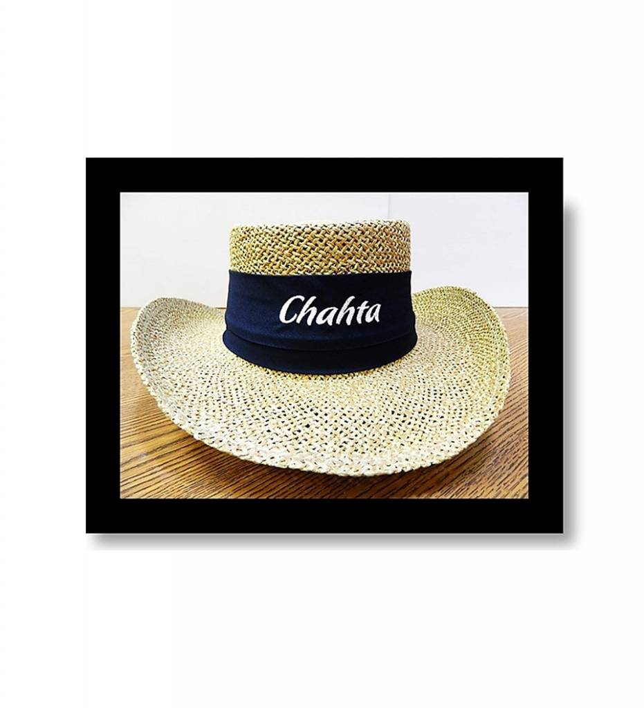 "Straw Hat ""Navy Band with White Embroidered Chahta"""