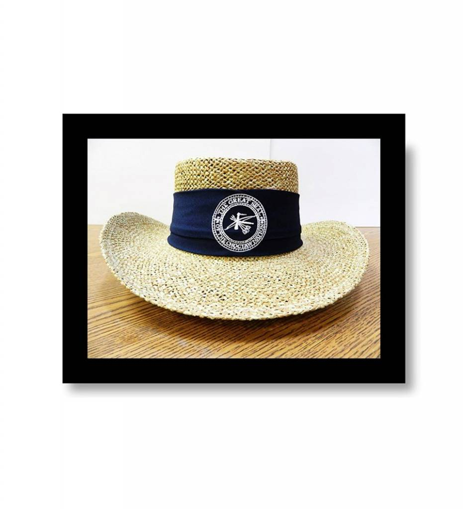 """Straw Hat """"Navy Band with White Embroidered CNO Seal"""""""