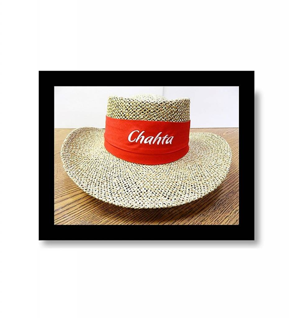 "Straw Hat ""Red Band with White Embroidered Chahta"""