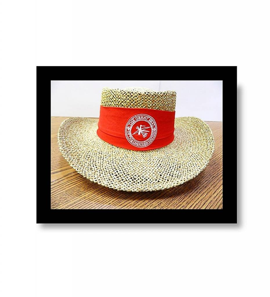 "Straw Hat ""Red Band with White Embroidered CNO Seal"""