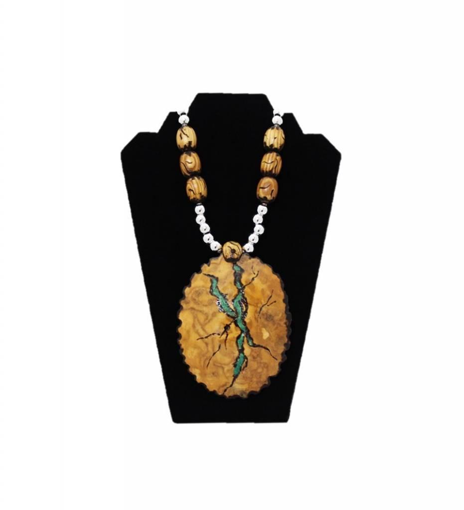 """*KB """"Green Lightning"""" Gourd Medallion & Beaded Necklace"""