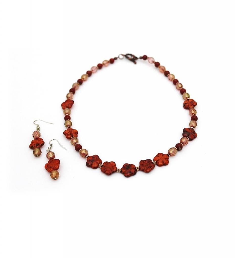 *JM Autumn / Fall Flower Necklace & Earrings Set