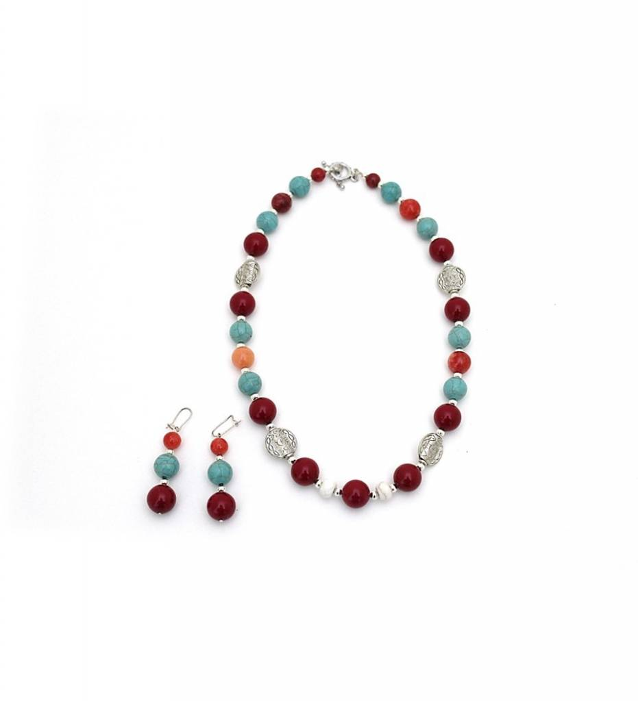 *JM Multi Colored Beads Necklace & Earrings Set