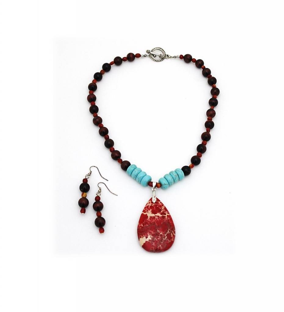 *JM Red Crazy Red Agate Pendant / Lace / Turquoise Beads Necklace & Earrings Set