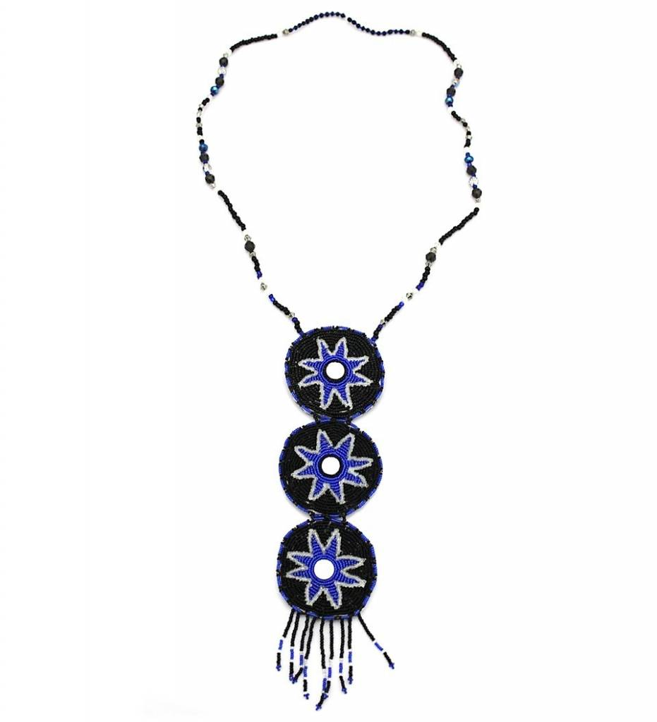 CN Black & Blue 3 Tier Medallion Necklace