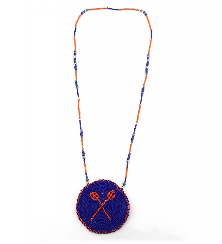 *JT Beaded Stickball Medallion Necklace