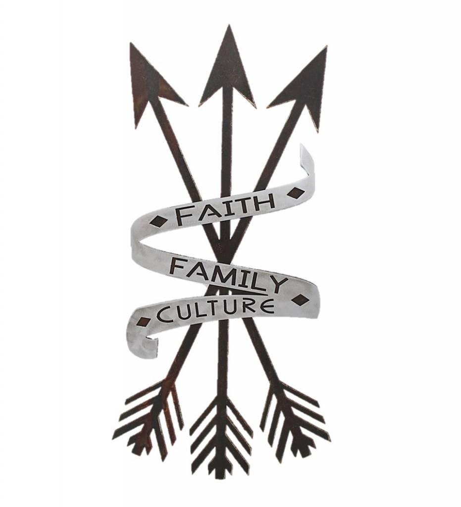 "*BMW ""Faith, Family, Culture with 3 Arrows"" Metal Artwork"