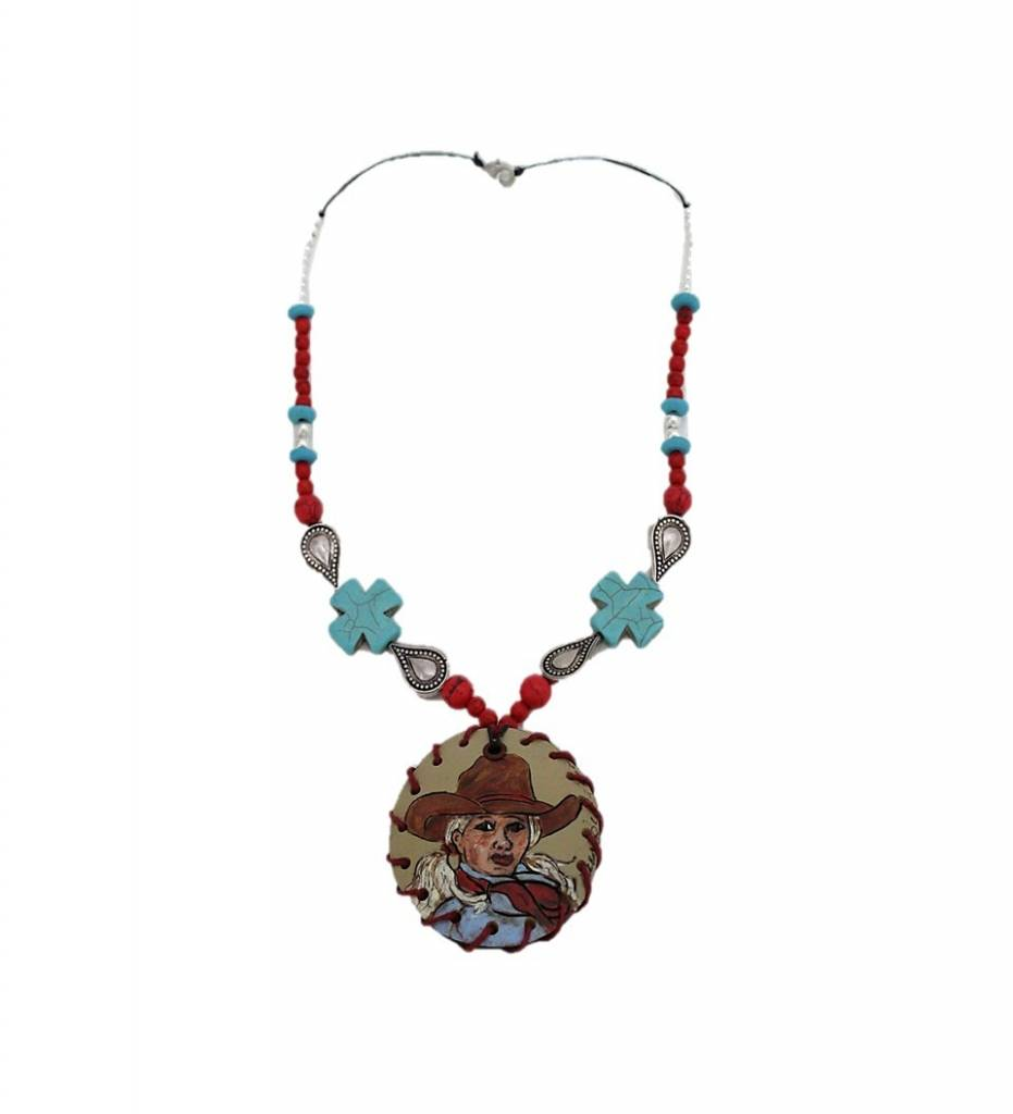 "*KB ""Cowgirl"" Gourd Medallion & Beaded Necklace"