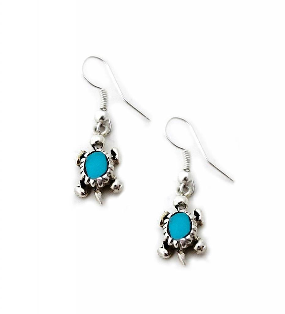 Jerry Lowman JL Sterling Silver Turtle with Turquoise Stone Earrings