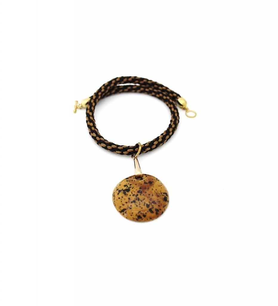 *TS Gold & Black Kumihimo Pendant with Rope Necklace