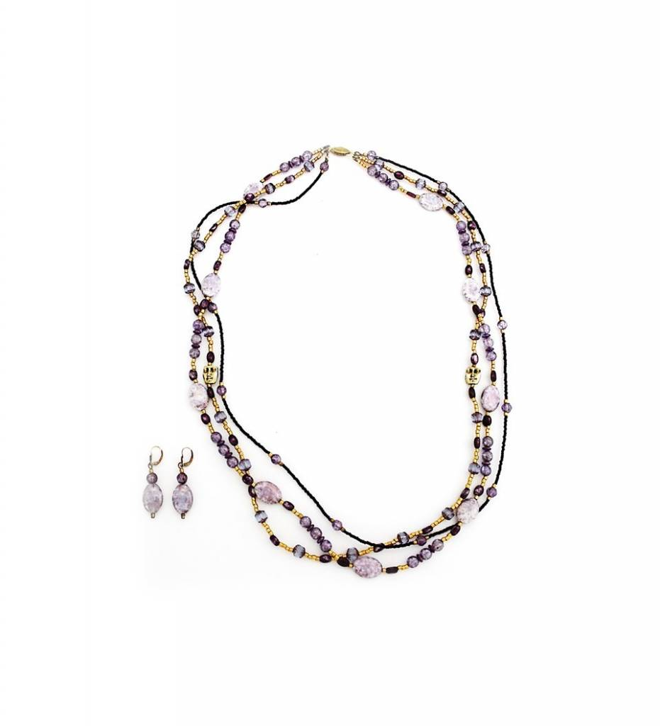 *TS Purple Wedding Necklace & Earrings Set