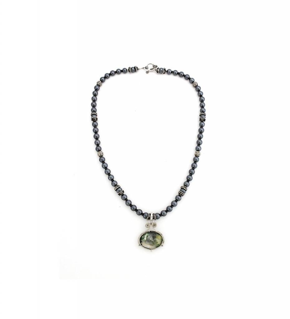 *TS Hematite Aggregate Pendant with Black Pearl Necklace