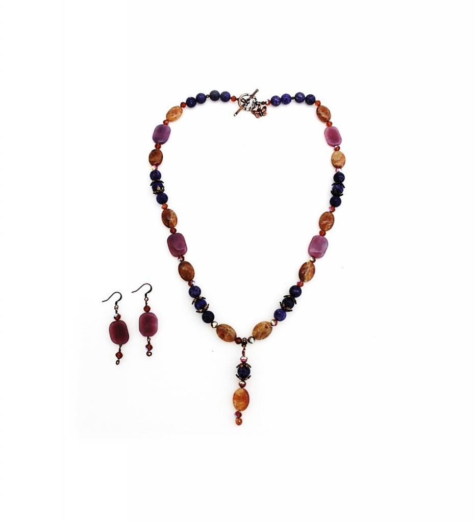 *TS Purple Jade & Spessertite Beads Necklace