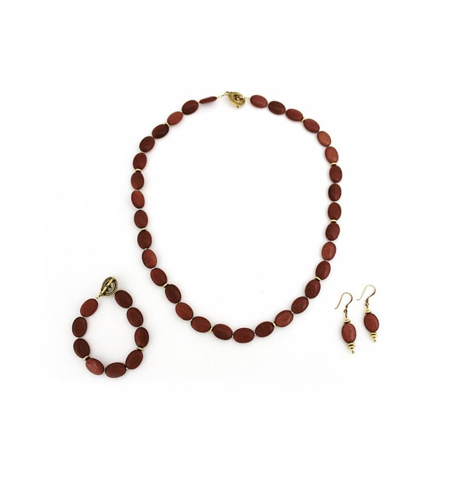 *TS Goldstone Beads Necklace, Bracelet & Earrings Set