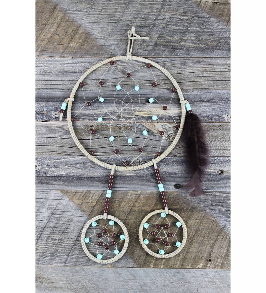 "*BD ""Brown & Turquoise Beads"" Triple Ring Dreamcatcher 8"" & 3"""