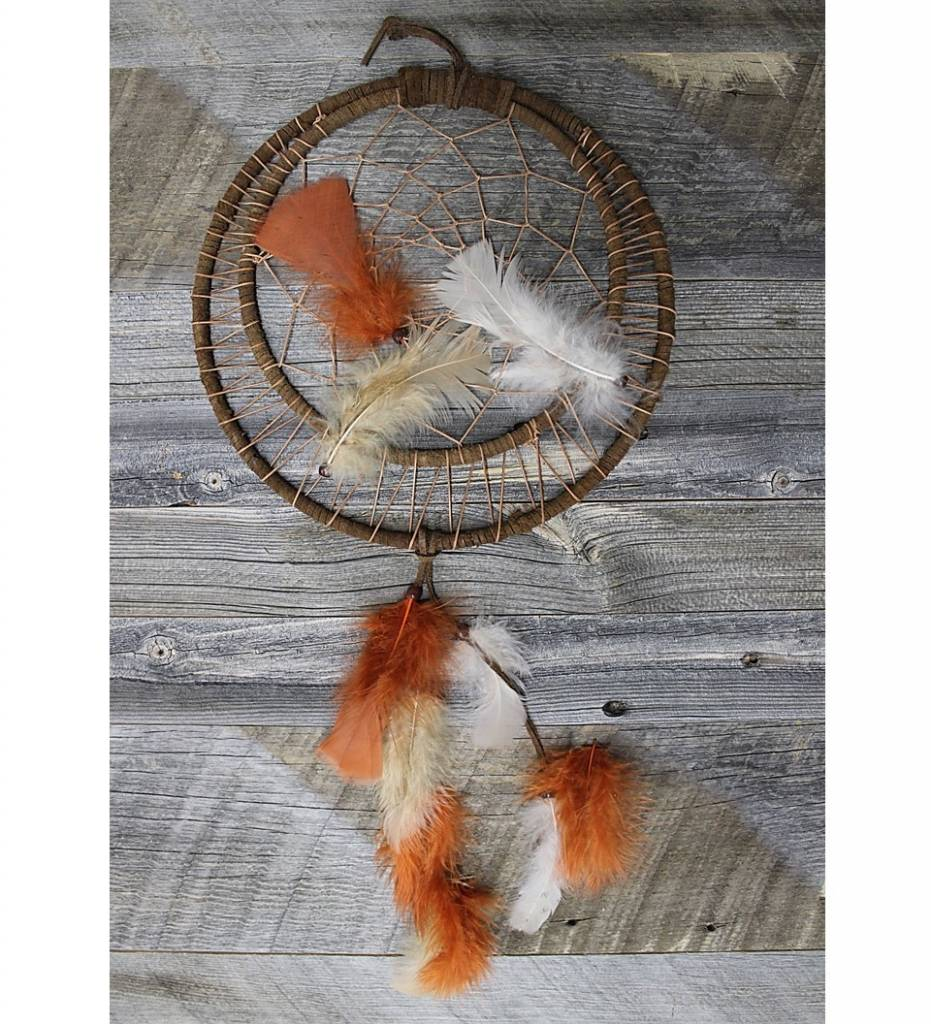 "*BD ""Brown Leather"" Double Ring Dreamcatcher 10"""