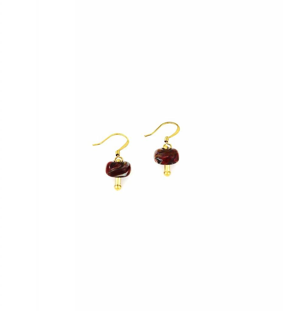 *TS Small Red Lamp Work Earrings