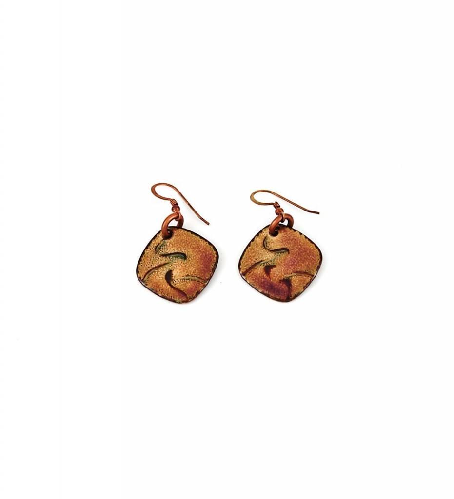 *TS Copper Flat Lamp Work Earrings