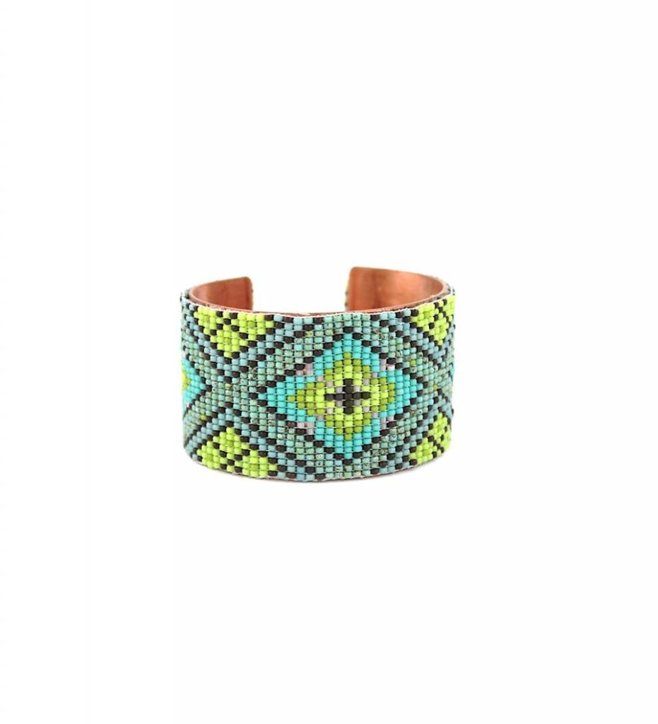 "*RS ""Beaded Copper Cuff Bracelet"" MEDIUM"