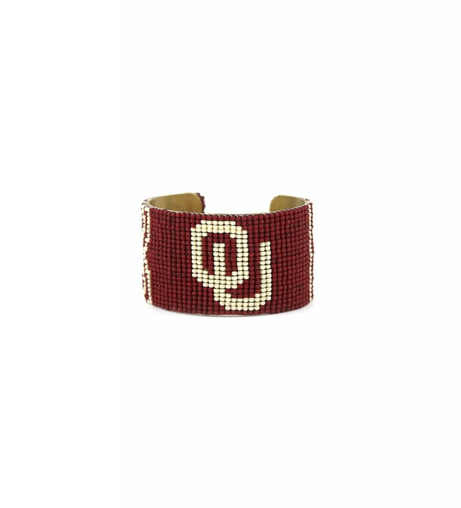 "*RS ""Beaded Brass Cuff Bracelet"" MEDIUM"