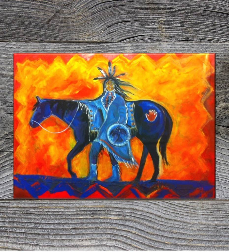 "*JU ""Blue Horse"" 24 X 28 Strectched Giclee Print on Canvas"