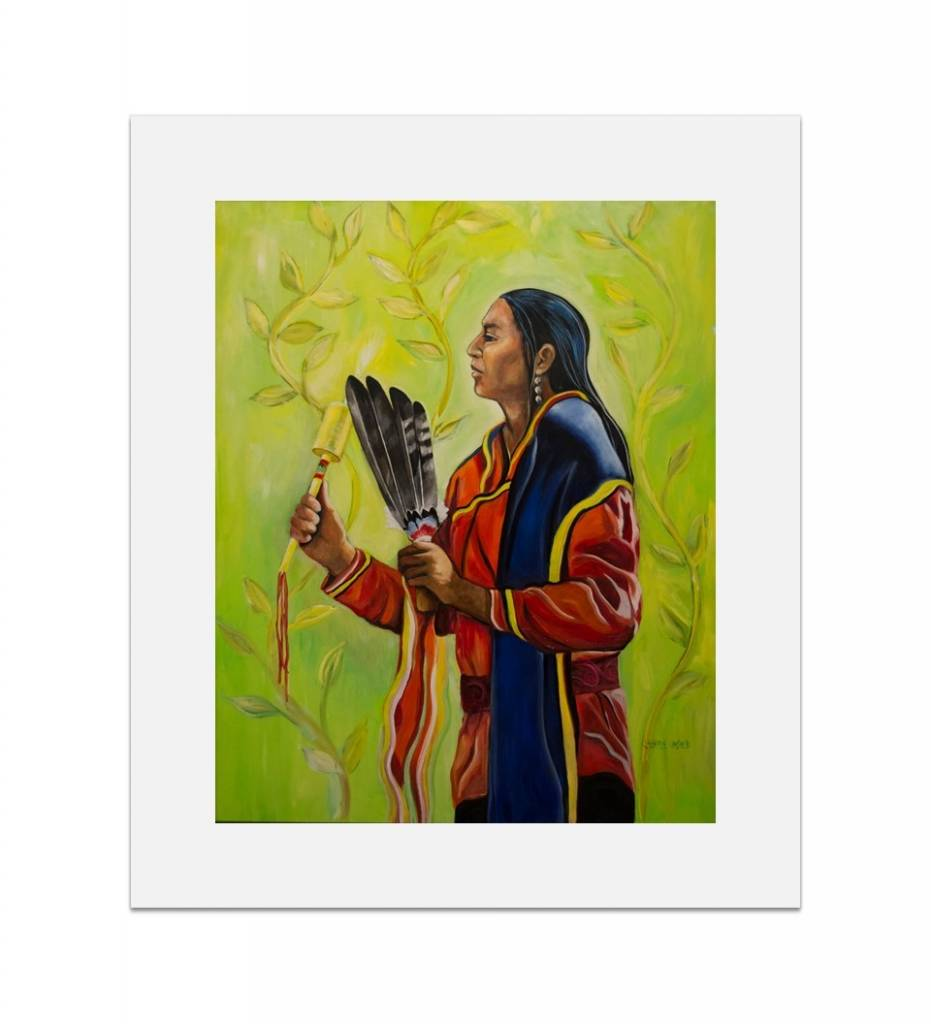 "*JU ""Choctaw Gourd Dancer"" 14 X 16 1/4 Matted Print"