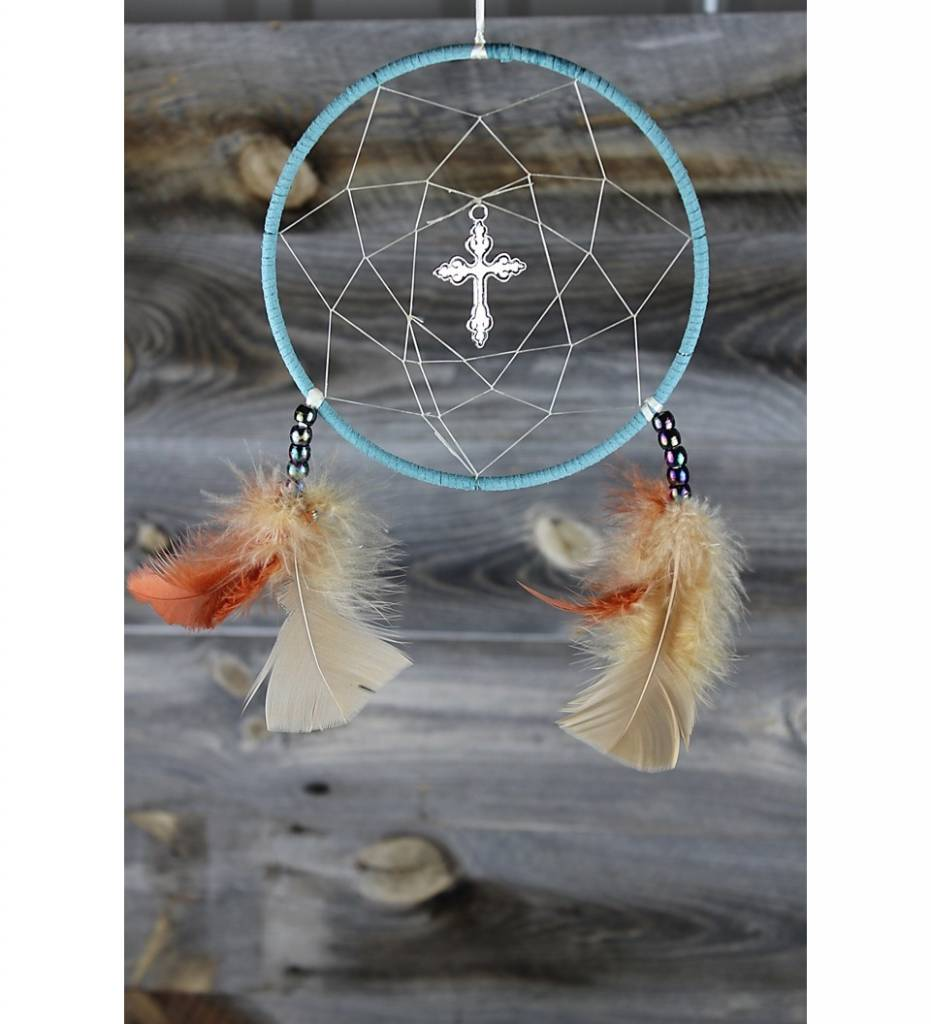 "*BD 6"" Turquoise & Tan Web with Silver Cross DREAMCATCHER"
