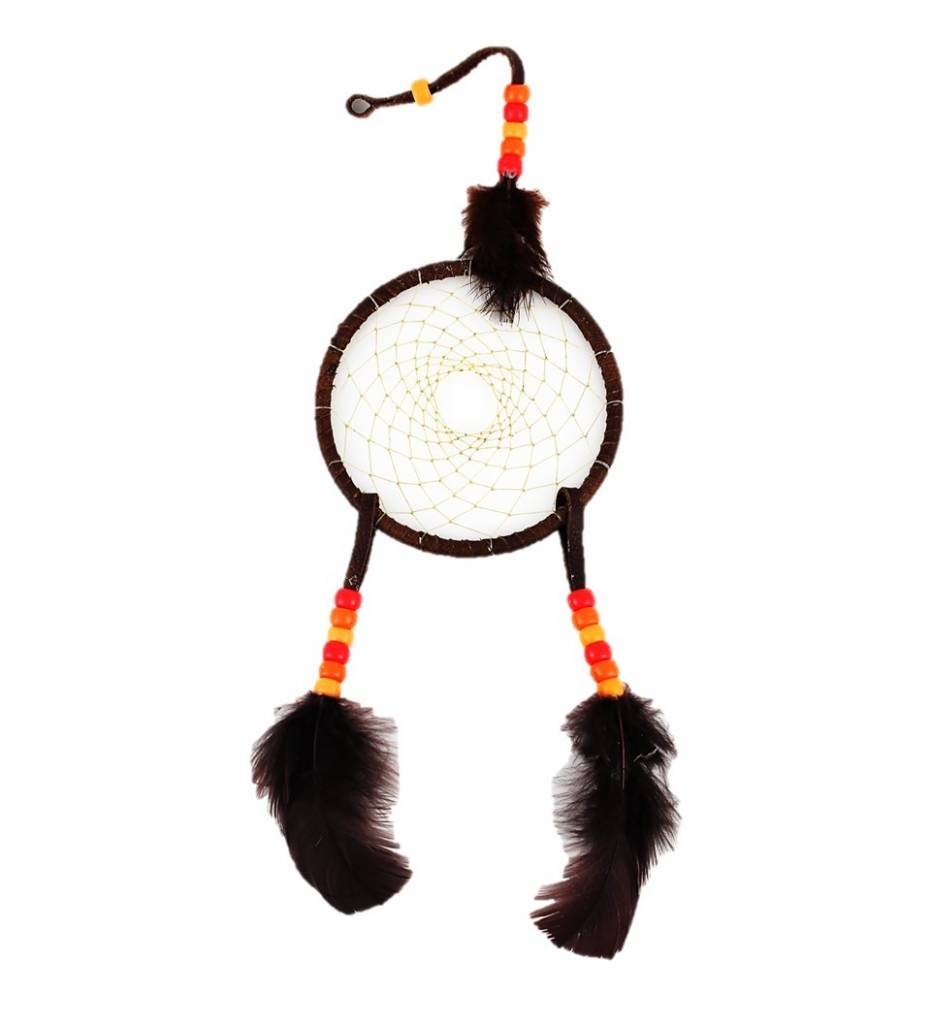 "*JS 4"" Brown with Beige Web & Orange Beads DREAMCATCHER"