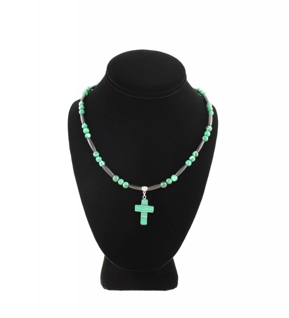 *BG Green Cross Pendant with Green Beads & Black Bone NECKLACE
