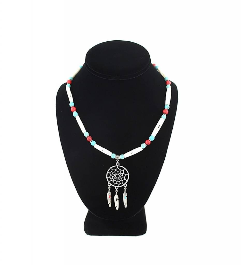 *BG Silver Dreamcatcher Pendant with Red / Turquoise Beads & Bone NECKLACE
