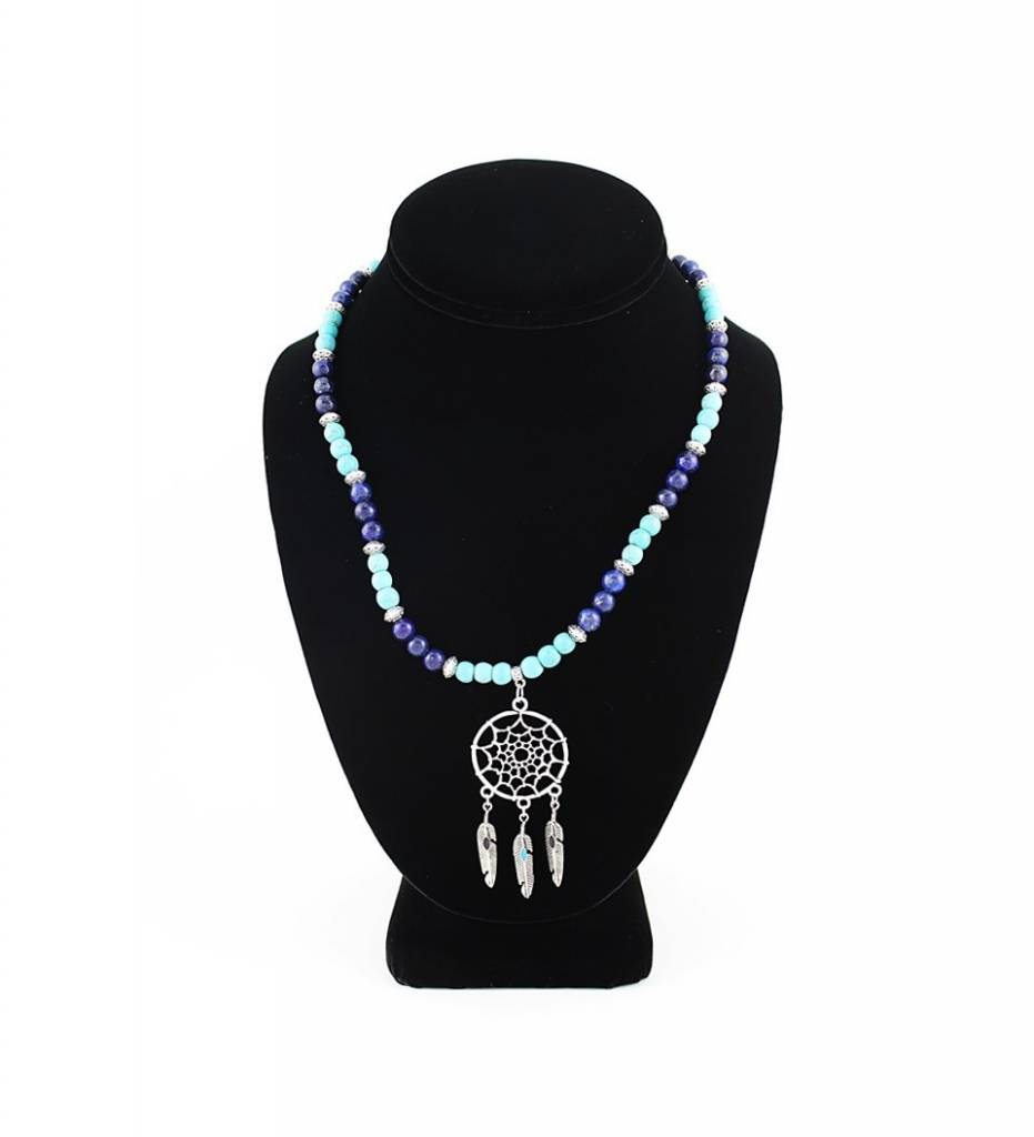 *BG Silver Dreamcatcher Pendant with Blue / Silver / Turquoise Beads NECKLACE