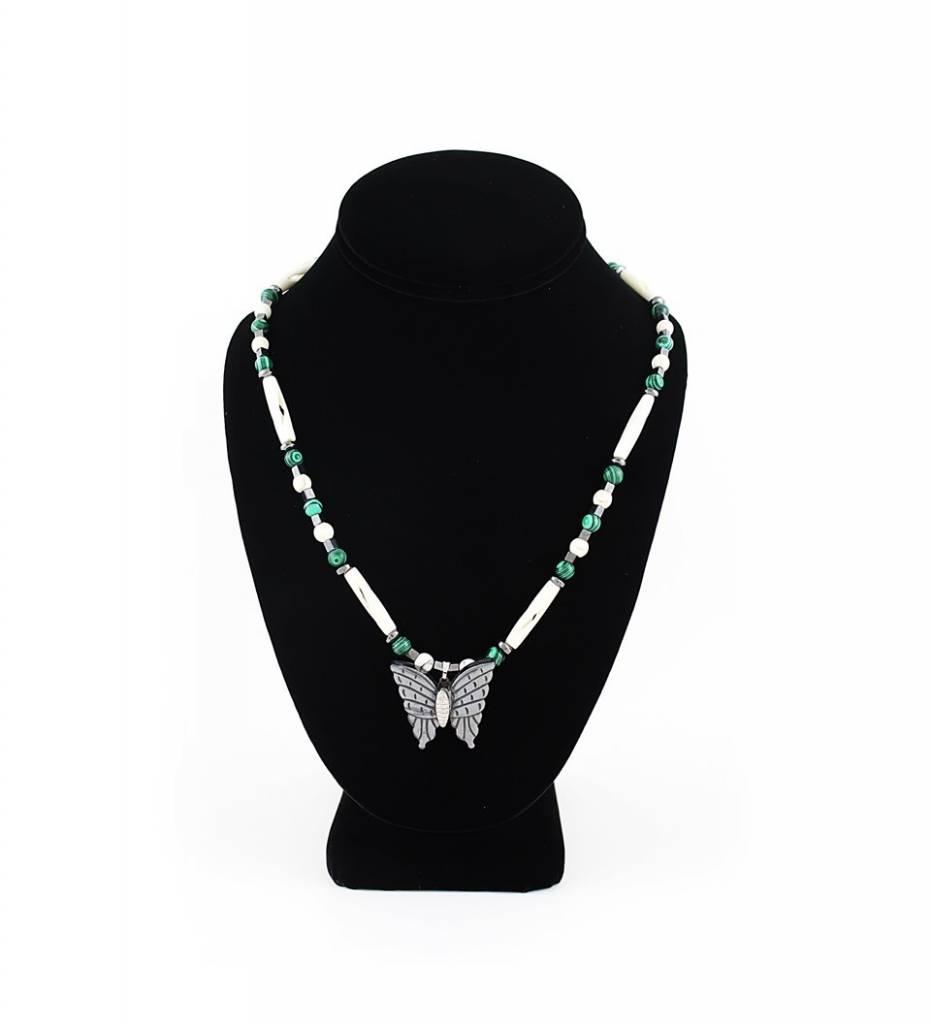 *BG Butterfly Hematite Pendant with Green / Hematite Beads & Bone NECKLACE