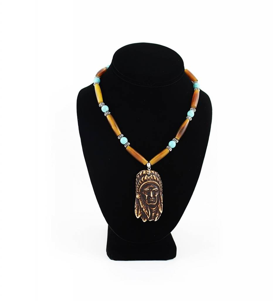 *BG Brown Bone Indian Head Pendant with Turquoise Beads & Brown Bone NECKLACE