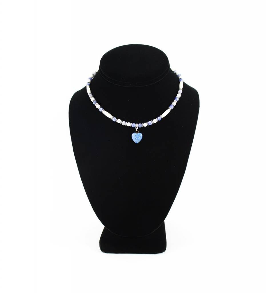 *BG Lapis Blue Heart Pendant with Blue & Bone Beads SMALL NECKLACE