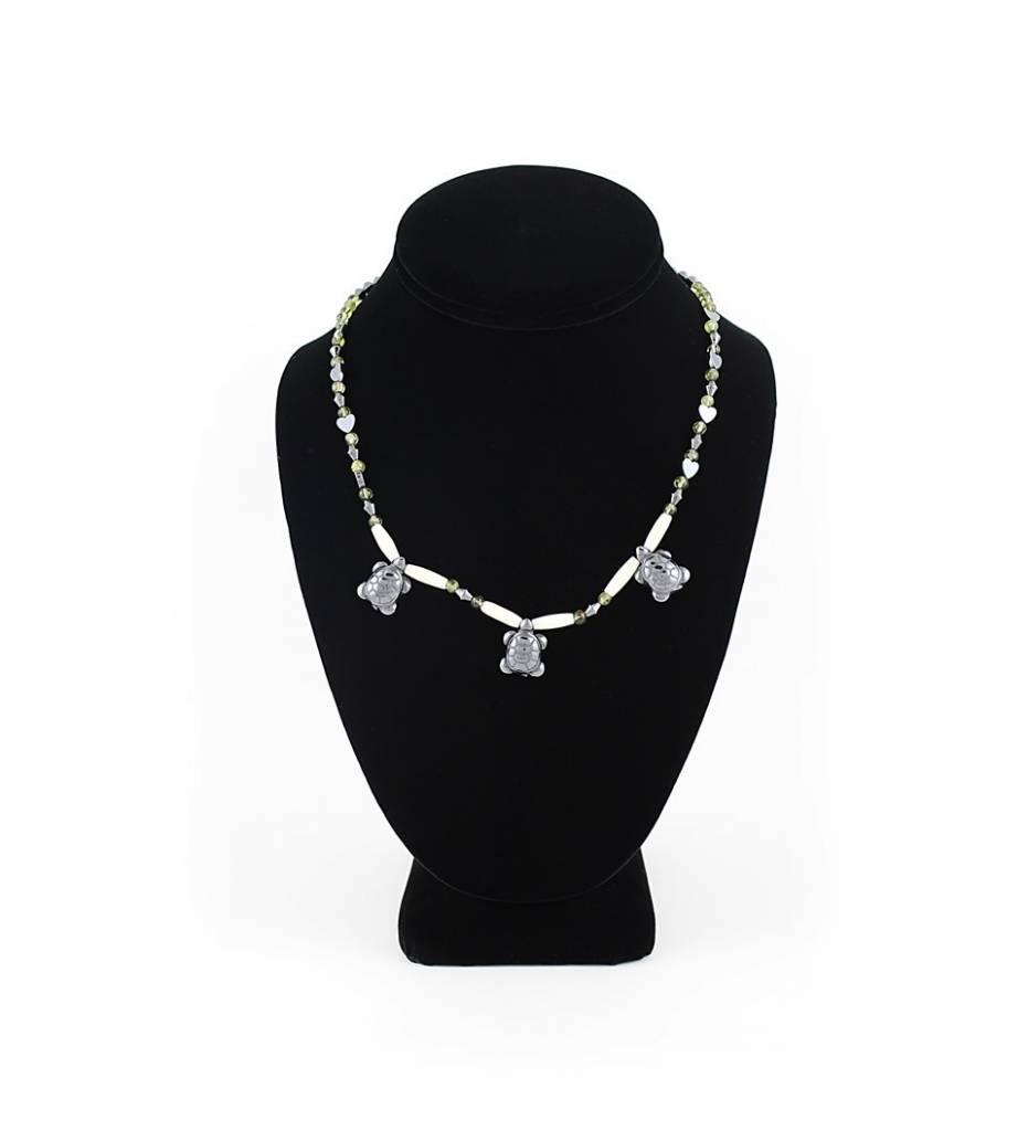 *BG Black Hematite Turtle Pendants with Multi Colored Beads & Bone NECKLACE