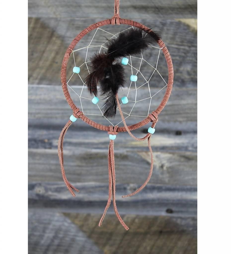 *BD 5'' Leather & Tan Web with Aqua Beads DREAMCATCHER