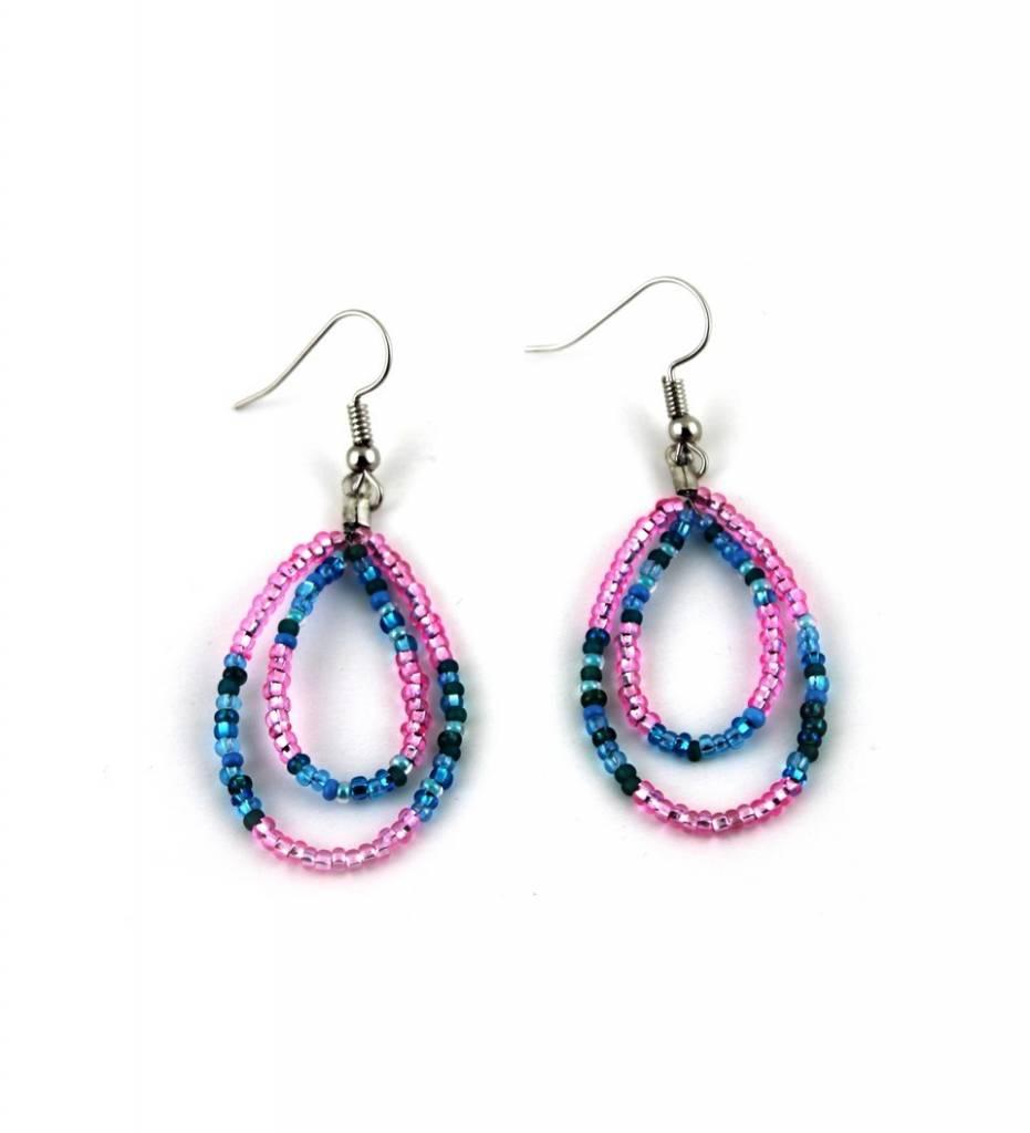 *BG Pink & Blue Beads Loop EARRINGS