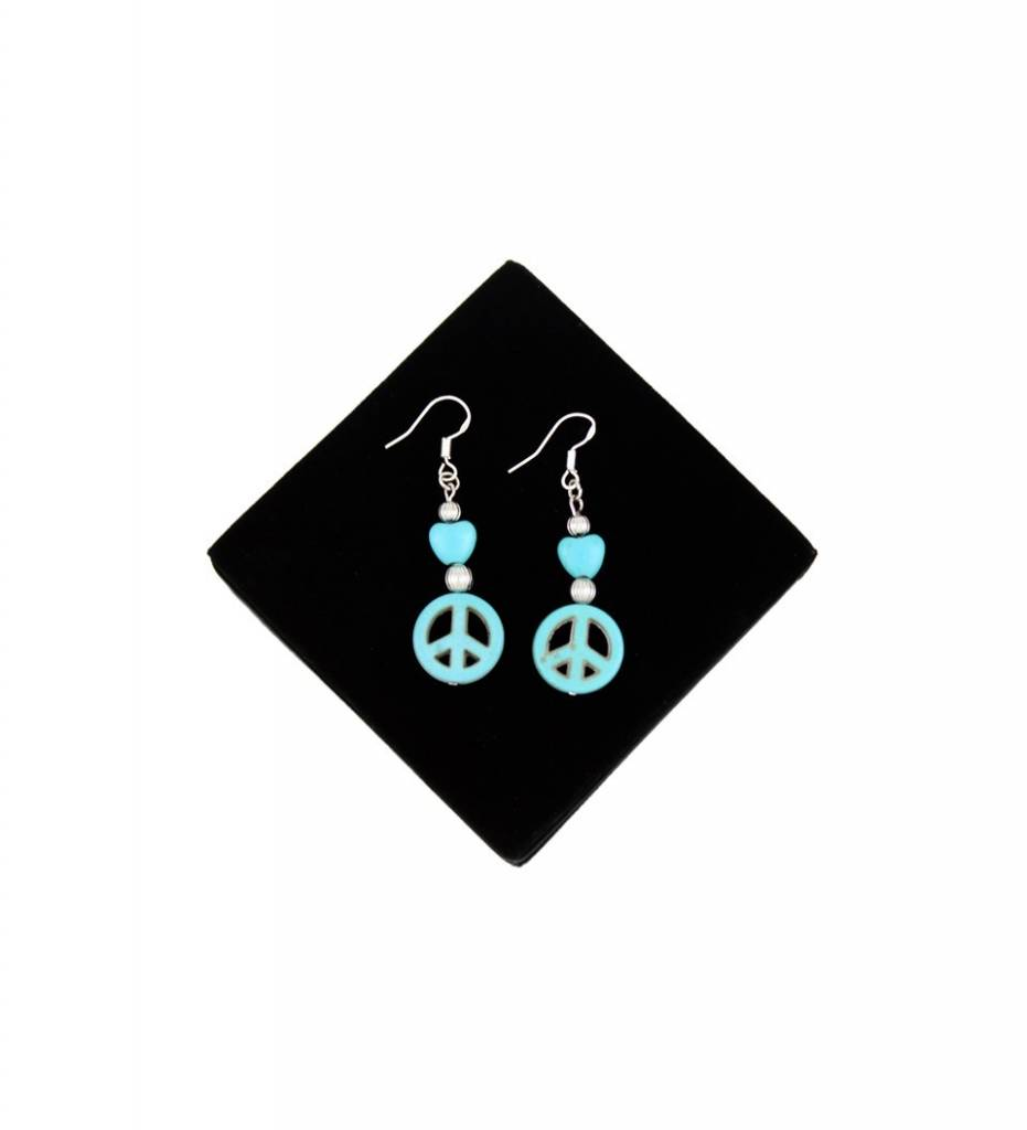 *BG Peace Sign Turquoise & Silver Beads EARRINGS