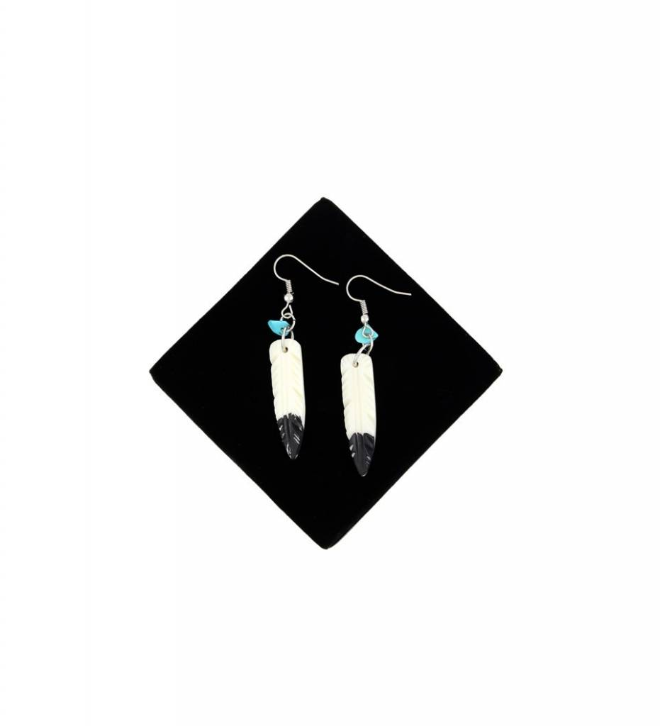 *BG Bone Feather with Turquoise Stone EARRINGS